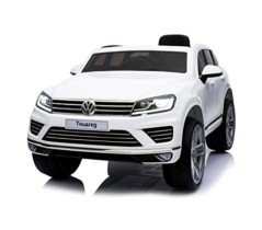 Coche eléctrico para niños SUV VOLKSWAGEN Touareg asiento de cuero 12V – Blanco