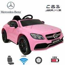 Coches eléctricos para niños Mercedes C63 con Mando Parental 2.4GHz Rosa
