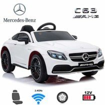 Coches eléctricos para niños Mercedes C63 con Mando Parental 2.4GHz Blanco