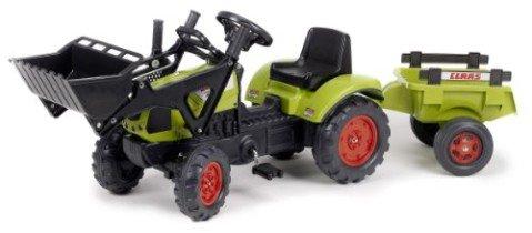 Falk 2040CM Claas Arion 410 – Tractor de pala a pedales con remolque, color verde