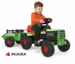 INJUSA Tractor Basic con Remolque con Luces Y Sonidos, Color Verde, 3+