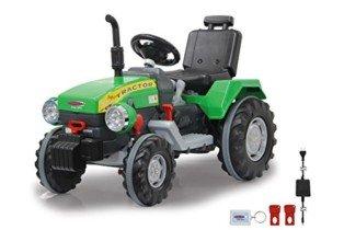 Jamara-460276 Ride on Tractor Power Drag 12 V, Color Negro, Verde