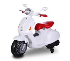 MWS LT 849 Scooter eléctrico para niños PRIMAVERA 12V asiento de cuero (Blanco)
