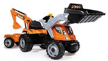 Tractor Builder Max a pedales con pala, excavadora y remolque